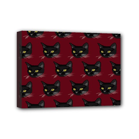 Face Cat Animals Red Mini Canvas 7  X 5  by Mariart