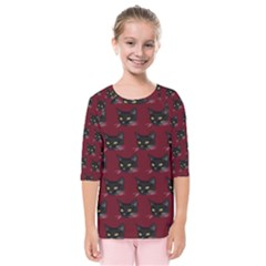 Face Cat Animals Red Kids  Quarter Sleeve Raglan Tee by Mariart