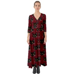 Face Cat Animals Red Button Up Boho Maxi Dress by Mariart