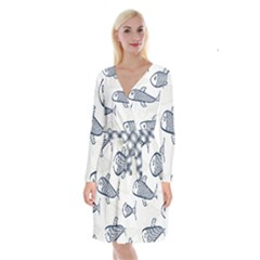 Fish Graphic Flooring Blue Seaworld Swim Water Long Sleeve Velvet Front Wrap Dress by Mariart