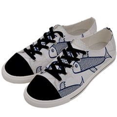 Fish Graphic Flooring Blue Seaworld Swim Water Men s Low Top Canvas Sneakers by Mariart