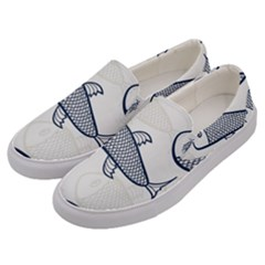 Fish Graphic Flooring Blue Seaworld Swim Water Men s Canvas Slip Ons by Mariart