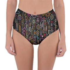 Features Illustration Reversible High Waist Bikini Bottoms by Mariart