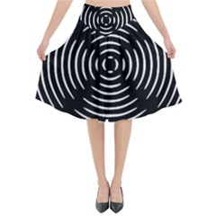 Gold Wave Seamless Pattern Black Hole Flared Midi Skirt by Mariart