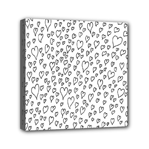 Heart Doddle Mini Canvas 6  X 6  by Mariart