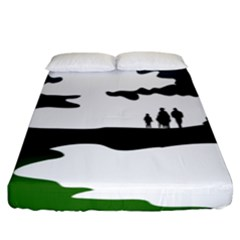 Landscape Silhouette Clipart Kid Abstract Family Natural Green White Fitted Sheet (king Size)