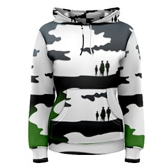 Landscape Silhouette Clipart Kid Abstract Family Natural Green White Women s Pullover Hoodie