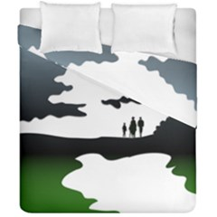 Landscape Silhouette Clipart Kid Abstract Family Natural Green White Duvet Cover Double Side (california King Size) by Mariart