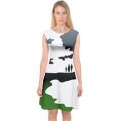 Landscape Silhouette Clipart Kid Abstract Family Natural Green White Capsleeve Midi Dress