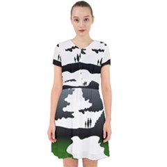 Landscape Silhouette Clipart Kid Abstract Family Natural Green White Adorable In Chiffon Dress