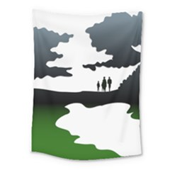 Landscape Silhouette Clipart Kid Abstract Family Natural Green White Medium Tapestry by Mariart