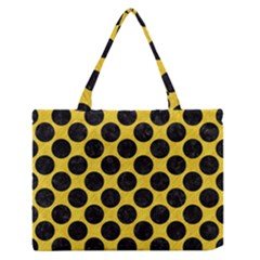 Circles2 Black Marble & Yellow Colored Pencil Zipper Medium Tote Bag by trendistuff