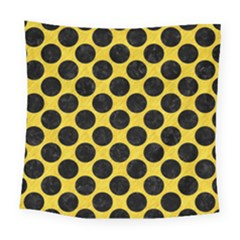 Circles2 Black Marble & Yellow Colored Pencil Square Tapestry (large) by trendistuff