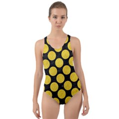 Circles2 Black Marble & Yellow Colored Pencil (r) Cut Out Back One Piece Swimsuit
