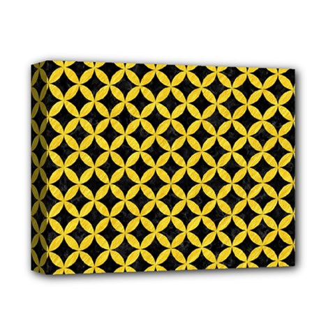 Circles3 Black Marble & Yellow Colored Pencil (r) Deluxe Canvas 14  X 11  by trendistuff