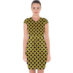 Circles3 Black Marble & Yellow Colored Pencil (r) Capsleeve Drawstring Dress