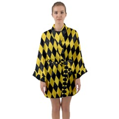 Diamond1 Black Marble & Yellow Colored Pencil Long Sleeve Kimono Robe by trendistuff