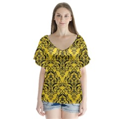 Damask1 Black Marble & Yellow Colored Pencil V Neck Flutter Sleeve Top