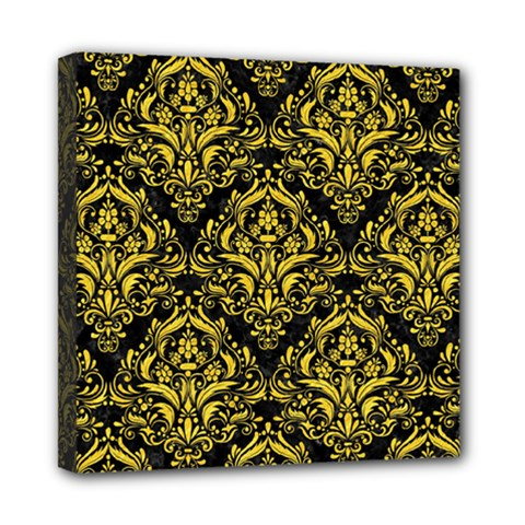Damask1 Black Marble & Yellow Colored Pencil (r) Mini Canvas 8  X 8  by trendistuff