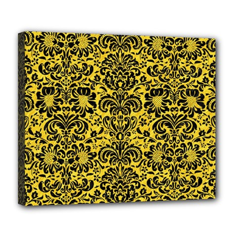 Damask2 Black Marble & Yellow Colored Pencil Deluxe Canvas 24  X 20   by trendistuff
