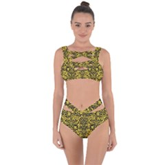Damask2 Black Marble & Yellow Colored Pencil Bandaged Up Bikini Set