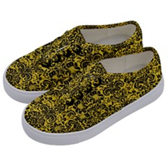 Damask2 Black Marble & Yellow Colored Pencil Kids  Classic Low Top Sneakers by trendistuff