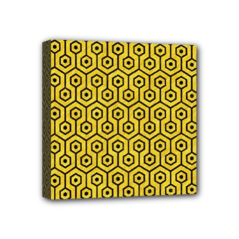 Hexagon1 Black Marble & Yellow Colored Pencil Mini Canvas 4  X 4  by trendistuff