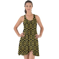 Hexagon1 Black Marble & Yellow Colored Pencil (r) Show Some Back Chiffon Dress by trendistuff
