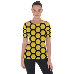 Hexagon2 Black Marble & Yellow Colored Pencil Short Sleeve Top