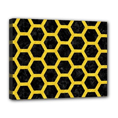 Hexagon2 Black Marble & Yellow Colored Pencil (r) Canvas 14  X 11  by trendistuff