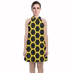 Hexagon2 Black Marble & Yellow Colored Pencil (r) Velvet Halter Neckline Dress  by trendistuff