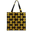 PUZZLE1 BLACK MARBLE & YELLOW COLORED PENCIL Zipper Grocery Tote Bag View1