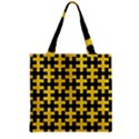 PUZZLE1 BLACK MARBLE & YELLOW COLORED PENCIL Zipper Grocery Tote Bag View2