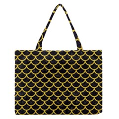 Scales1 Black Marble & Yellow Colored Pencil (r) Zipper Medium Tote Bag by trendistuff