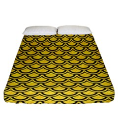 Scales2 Black Marble & Yellow Colored Pencil Fitted Sheet (california King Size) by trendistuff