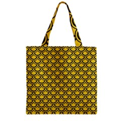 Scales2 Black Marble & Yellow Colored Pencil Zipper Grocery Tote Bag by trendistuff