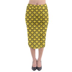 Scales2 Black Marble & Yellow Colored Pencil Midi Pencil Skirt by trendistuff