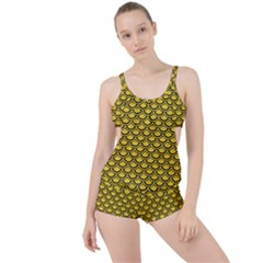 Scales2 Black Marble & Yellow Colored Pencil Boyleg Tankini Set
