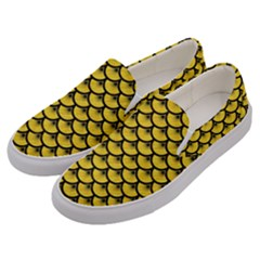 Scales3 Black Marble & Yellow Colored Pencil Men s Canvas Slip Ons by trendistuff
