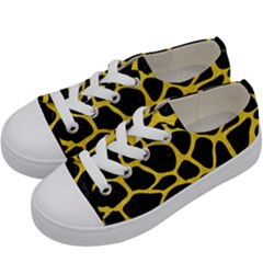 Skin1 Black Marble & Yellow Colored Pencil Kids  Low Top Canvas Sneakers by trendistuff
