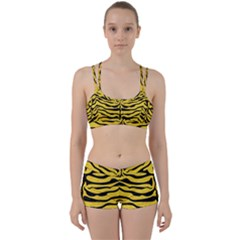 Skin2 Black Marble & Yellow Colored Pencil Women s Sports Set