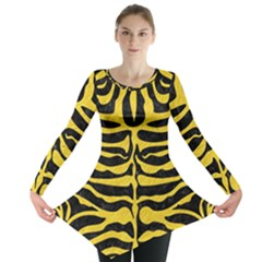 Skin2 Black Marble & Yellow Colored Pencil (r) Long Sleeve Tunic
