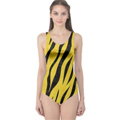 Skin3 Black Marble & Yellow Colored Pencil One Piece Swimsuit