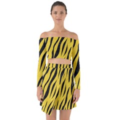 Skin3 Black Marble & Yellow Colored Pencil Off Shoulder Top With Skirt Set