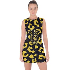 Skin5 Black Marble & Yellow Colored Pencil Lace Up Front Bodycon Dress