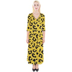 Skin5 Black Marble & Yellow Colored Pencil (r) Quarter Sleeve Wrap Maxi Dress