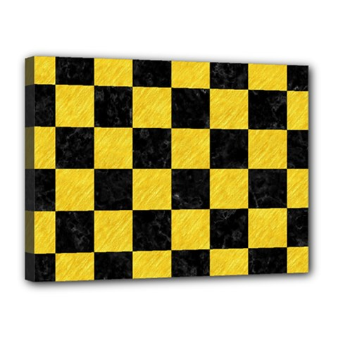 Square1 Black Marble & Yellow Colored Pencil Canvas 16  X 12  by trendistuff