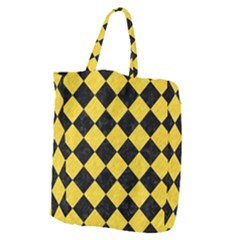 Square2 Black Marble & Yellow Colored Pencil Giant Grocery Zipper Tote