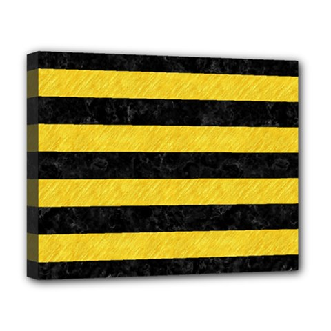 Stripes2 Black Marble & Yellow Colored Pencil Deluxe Canvas 20  X 16   by trendistuff