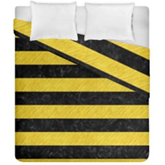 Stripes2 Black Marble & Yellow Colored Pencil Duvet Cover Double Side (california King Size) by trendistuff